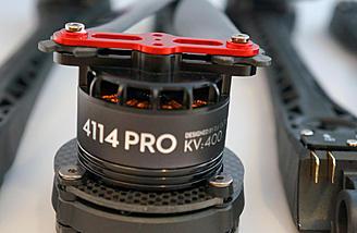 Uses 4114 size motors with folding prop setup