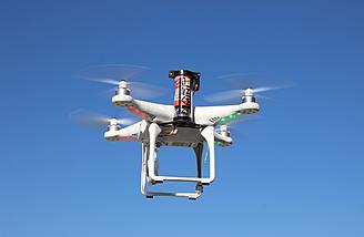 DJI Phantom flying with Mars Parachute installed