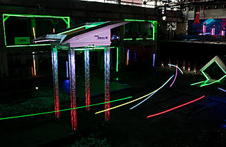 Futuristic drone racing courses with neon lit gates