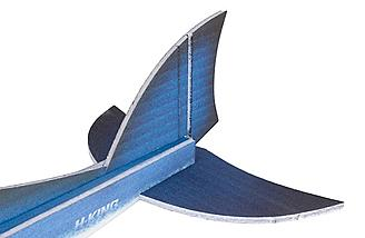 Has curved tails surfaces to look like shark fins