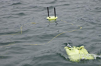 Gladius Wifi buoy sits on the surface and transmits a 720P video feed to your smartphone
