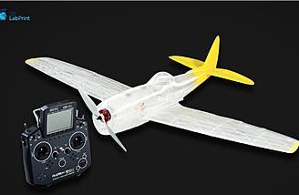 3D printed P-47 next to a Jeti radio