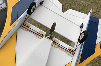 Fixed landing gear in front of the motor allows for easy touch n goes