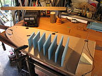 Name: Foam blanks glued to building board.jpg Views: 29 Size: 1.40 MB Description: The 12 mm blue foam blanks are hot melt glued to the building board along with the top cut template. The wire pivot can be seen at the left end.
