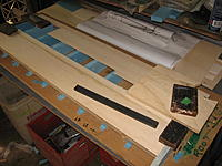 Name: Top sheeting going on.jpg Views: 19 Size: 502.2 KB Description: 1 mm balsa D box sheeting. The top and bottom of the pre-made spar was capped with 1 mm soft balsa and sanded to profile. First described by Mark Drela, to my understanding.
