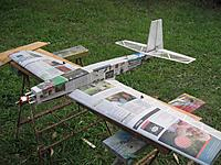 Name: Paper glue covering Kaos.JPG Views: 40 Size: 450.6 KB Description: I am trying to decide what power system this requires. It will be around 1250 grams when painted. The wing span is 1350 mm.