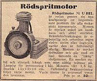 """Name: Rödspritsmotor 1944.jpg Views: 9 Size: 299.3 KB Description: The """"fire-eater"""", as advertised in the Clas Ohlson & Co catalogue of 1944......"""