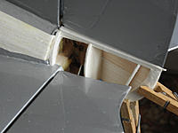 """Name: Dragonfly 37.jpg Views: 174 Size: 145.4 KB Description: A few final formers to get the final shape set up below the rudder - a bit of 1/8"""" soft from scrap - and the first side."""