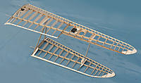Name: Dragonfly 044.jpg Views: 178 Size: 155.6 KB Description: Completed wing construction with struts bulked out with softwood and sanded to streamlined section.