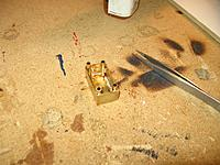 """Name: IMG_2350 (Custom).jpg Views: 190 Size: 221.6 KB Description: Soldered 5/32"""" tubes into the corners of the gearbox. Tubes have been filed flush with top of the box for the cover to fit. 4-40 bolts will pass through the tubes to secure top on."""