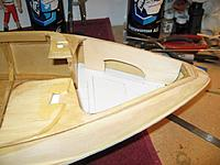 """Name: IMG_2358 (Custom).jpg Views: 177 Size: 153.3 KB Description: Started working with a 1/16"""" piece of basswood to shape the inside wall of the bow area. Cushions will also cover up this side area."""