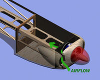 Name: airflow.jpg Views: 480 Size: 79.0 KB Description: There really isn't a lot of provision for airflow in Al's plans. I figured I'd add scoops to the right and left of the nose and a small hole at the tail for an air exit.  Air should be forced around the motor and through the firewall then o