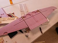 """Name: SeniorCenter-03.jpg Views: 392 Size: 128.9 KB Description: Dry fitting of the wings.  41.5"""" wingspan.  Will still need to open up the spar slots in a few places for a better fit."""