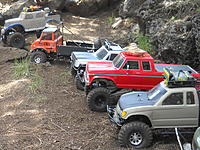 """Name: RSCN0475.jpg Views: 108 Size: 313.5 KB Description: ....some of the 40 trucks that show up to our CORCRC  trail runs....""""Central Oregon RC Rock Crawlers"""""""