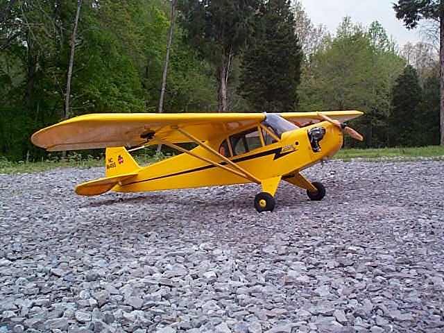 "Name: Cub.jpg Views: 235 Size: 133.4 KB Description: 81"" Piper J-3 Cub with O.S. 70 Fs."