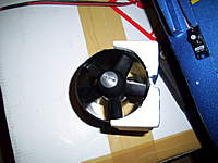 Name: 100_2055.jpg Views: 380 Size: 68.2 KB Description: EDF foam block mount. dont forget you'll need to sand this out aswell.  once it all seems to fit nicely i used a light smear of the epoxy supplied in the kit to stick the 70mm fan to the foam block mount.