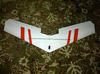 Name: IMG_20120825_191900.jpg Views: 73 Size: 187.7 KB Description: Just the basic crooked orientation stripes on the bottom, I was in a hurry to go fly after I got it all built, not pretty, but functional.