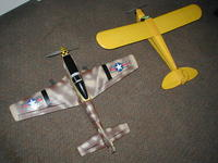 """Name: thumb-P-51_Mustang&HarborCub.jpg Views: 1563 Size: 5.9 KB Description:  This is the 37.5"""" wing span, 20"""" fuse, 380 direct drive brushed motor with what looks like the same electrics sa the Wild Hawk other than some beefier servos. I use the same TX as the Wild Hawk"""