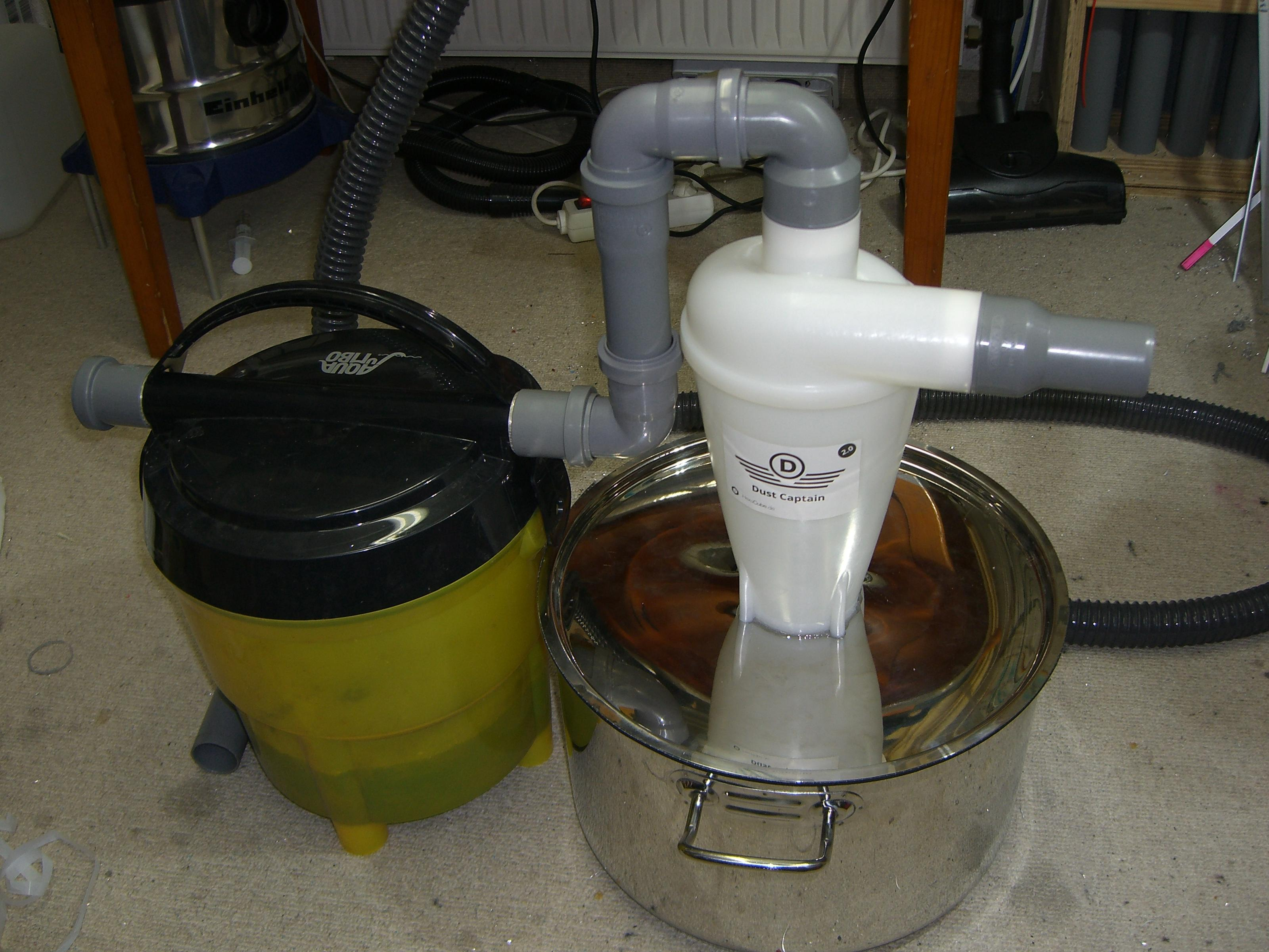 dust captain cyclone separator and diy water prefilter for workshop