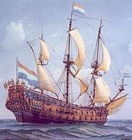 "Name: de_zeven_provincien.jpg Views: 130 Size: 75.8 KB Description: The Dutch warship ""Zeven Provencien"". Much bigger than the ""Batavia"", but still that typical rigging. Around 1660-1670."