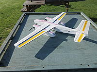 """Name: Jeff's A-26 Maiden 1.jpg Views: 9 Size: 2.66 MB Description: I used the Dubro Micro 2 (.047 wire) pushrod system, with a 4"""" piece of tubing stuck tight against the side using blend-derm tape.  The trick to getting it tight is to put parchment paper underneath, and smooth the tape around the sides of the tube."""