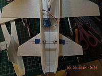 Name: DSCN0760.jpg Views: 124 Size: 188.5 KB Description: H Stabs just taped on.  Will be putting a few ribs or just run a piece of CF near the LE to get an airfoil.  Servos will be inline and off center.  Starting almost at fan face to the wing.  Not able to get them side by side.