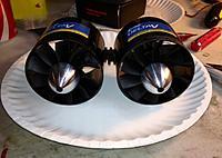 Name: Twins1.jpg Views: 121 Size: 103.9 KB Description: E-Flight Delta-V Housings, HET 2w-25's, CS-10 Fans, Extreme RC 3.17 Shaft adapters & Precision Alloy Spinners.