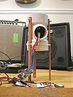 """Name: pvcedftester.jpg Views: 75 Size: 92.2 KB Description: Simple down firing Thrust Stand made from a PVC 3""""x3""""x1.5"""" Sanitary Tee from Home Depot $3.74. i usually have it sitting on a postal scale but it's acting up right now."""