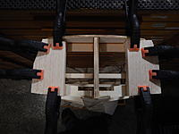 Name: 023 - DSCN7591.JPG Views: 99 Size: 841.4 KB Description: The two balsa Transom Corner Supports are in place and rough cut to shape.
