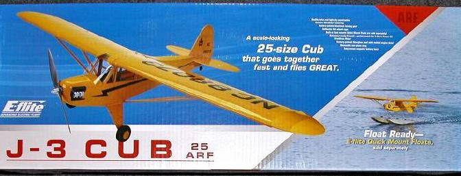 The J-3 Cub 25 ARF and optional floats arrived undamaged. In fact, I was amazed they were able to fit all the Cub parts and the floats into such small boxes!