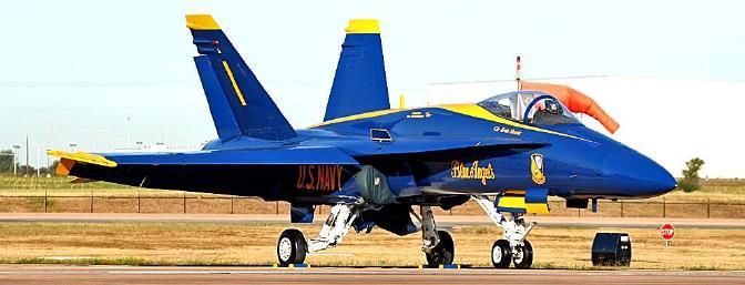 Here is a full-scale F/A-18 of the U.S. Navy Blue Angels squadron.