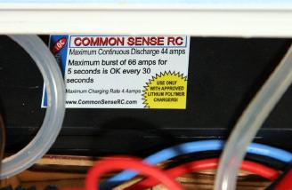 A 7.4 Common Sense LiPo is equally at home in the battery box