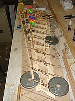Name: DSC03170.jpg Views: 99 Size: 162.6 KB Description: The ribs glued to the jig and part of the sub-leading edge glued in place.