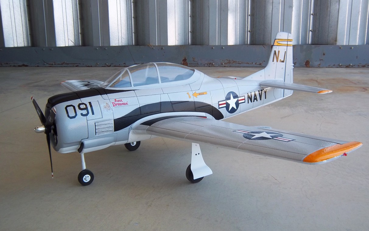 Name: Dynam T-28 & A-1 060.jpg Views: 485 Size: 192.0 KB Description: Dynam T-28 w/electric retracts, painted and detailed.