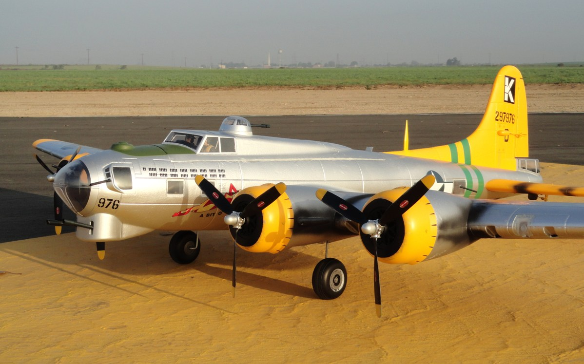 Name: Big_Jolt_2012_019.jpg Views: 153 Size: 178.6 KB Description: Starmax B-17 on the runway at Prado Airfield, Chino, CA
