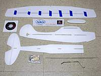 Name: Fabco Birddog 004.jpg Views: 252 Size: 67.0 KB Description: Kit parts with carbon fiber spar glued in