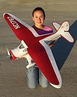 Name: Stinson Top View.jpg Views: 362 Size: 147.2 KB Description: RC Pilot Evelyn holding the Parkzone Stinson Reliant SR-10 PnP.
