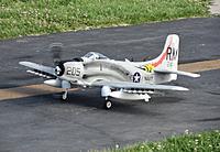 Name: Skyraider Maiden.jpg Views: 112 Size: 213.6 KB Description: Durafly 1100mm A-1 Skyraider post maiden taxi. Photo by Evelyn.