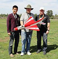 Name: DSC00473.jpg Views: 286 Size: 267.2 KB Description: John (Builder), Tim (Owner) & Tony (Pilot). Photo taken two weeks prior to the maiden flight.
