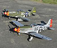 Name: IMG_3280.jpg Views: 183 Size: 422.7 KB Description: Brent Hecht's (Corsair Nut) Durafly P-51D Glamorous Glen III with Tony Accurso's (xplaneguy) Durafly P-51D Old Crow.