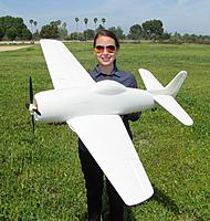 "Name: IMG_2433.jpg Views: 671 Size: 737.7 KB Description: RC Pilot Evelyn holding the FlightlineRC CNC Prototype F8F-1 Bearcat (Codename ""Project Evelyn""). Photo taken on 27 Mar 2016."
