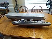 Name: IMG_20200531_085432166.jpg Views: 31 Size: 3.93 MB Description: 1/144 scale CVE 97 Hollania escort carrier and DD 557 Johnston Fletcher class destroyer