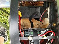 Name: 20190916_151459 (2).jpg Views: 5 Size: 2.05 MB Description: This is the empty battery area.  The black horizontal part holds the 3s 3000mAh lipo receiver pack which goes to the Castle 20 amp bec.  It's definitely more than it needs but a little headroom never hurts.