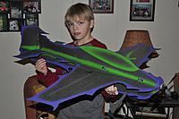 Name: DSC_0548 web.jpg Views: 183 Size: 67.4 KB Description: Alex and his first airplane design. THE ALIEN