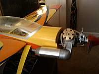 Name: PIC1.jpg Views: 74 Size: 49.0 KB Description: ENGINE IS BRAND NEW GMS .76 WITH 2.5 HP, RECOMMENDED ENGINE WOULD ONLY HAVE 1.5 HP SO THIS PLANE IS MAJOR 3D / HOVERING, WHATEVER. JUST DUST ON THE CANOPY, NOT SCRATHCES OR PAINT