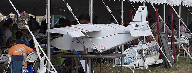A monster twin sticking out the build tent at Flite Fest 2017