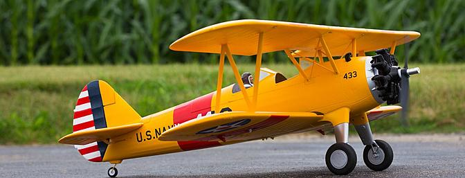 The E-flite PT-17 1.1m is modeled after the famous trainer of WWII