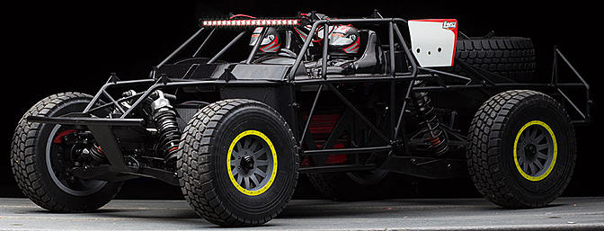 The Losi Super Baja Rey 4WD Desert Truck has a full plastic cage.