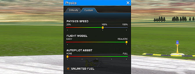 Adjust the aircraft speed and difficulty easily in the Physics menu