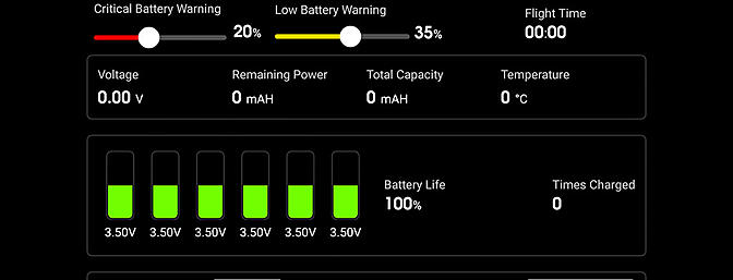 The Battery Status screen on the DJI Pilot App displays info related to the battery and allows for low-voltage warning adjustment